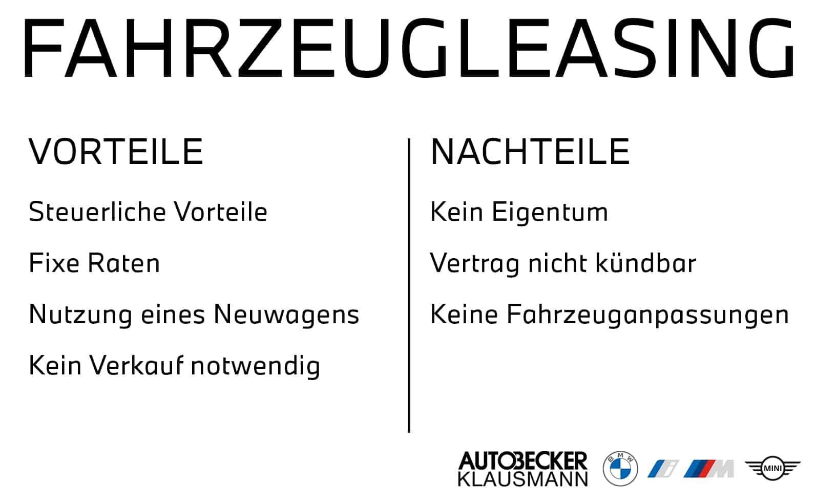 Vor- und Nachteile Fahrzeug Leasing