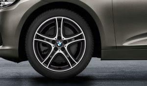 """18"""" BMW Leichtmetallrad Doppelspeiche 361 Bicolor (Orbitgrau, glanzgedreht), Sommer-Komplettradsatz"""